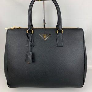 New Prada Saffiano Lux Black Galleria Zip Tote